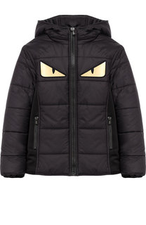 Стеганая куртка на молнии с капюшоном и аппликацией Fendi