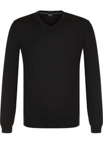 Однотонный шерстяной пуловер BOSS