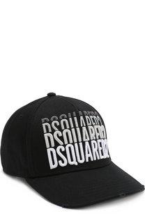 Хлопковая бейсболка с логотипом бренда Dsquared2