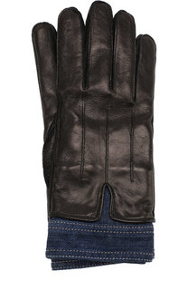 Кожаные перчатки с отделкой из денима Dsquared2