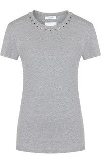 3ec7a10cfaaf Хлопковая футболка с круглым вырезом и декоративной отделкой Valentino