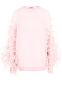 Пуловер из смеси шерсти и кашемира с перьевой отделкой Valentino