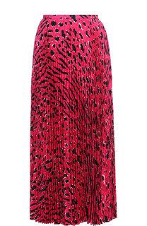 Плиссированная шелковая юбка-миди с принтом Valentino
