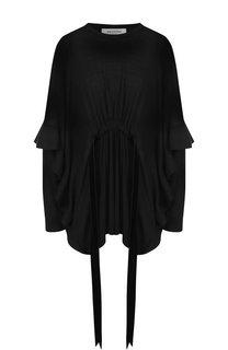 Однотонный шерстяной пуловер с поясом и оборками Valentino