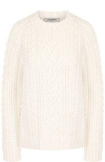 Вязаный шерстяной пуловер с круглым вырезом Valentino