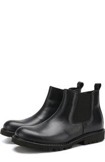 Кожаные ботинки на молнии с эластичной вставкой Lanvin