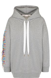 Хлопковый пуловер с капюшоном и декоративной отделкой Stella McCartney