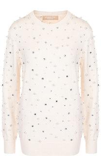 Кашемировый пуловер с круглым вырезом и декоративной отделкой Michael Kors Collection