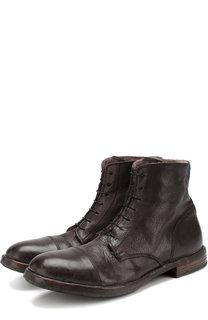 Высокие кожаные ботинки на шнуровке с внутренней меховой отделкой Moma