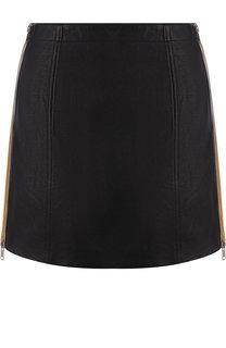 Кожаная мини-юбка с контрастной молнией по бокам Givenchy