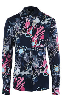 Приталенная шелковая блуза с принтом Giorgio Armani