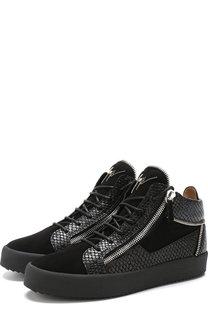 Высокие кожаные кеды на шнуровке с молнией Giuseppe Zanotti Design