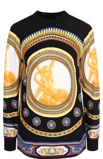 Блуза с воротником-стойкой и принтом Versace