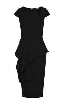 Приталенное шерстяное платье-миди с оборкой Roland Mouret