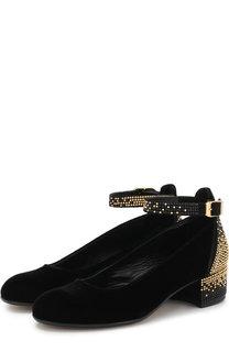 Текстильные туфли на ремешке со стразами Missouri