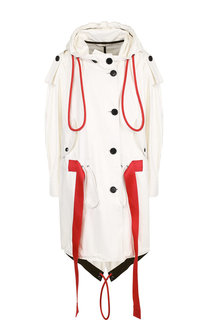 Кожаное пальто с контрастным поясом и капюшоном Burberry