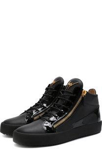 Кожаные кеды на шнуровке с внутренней меховой отделкой Giuseppe Zanotti Design