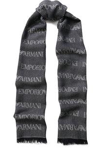 Шарф с бахромой и принтом Emporio Armani