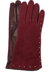 Перчатки из кожи и замши с металлическими заклепками Sermoneta Gloves