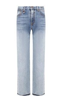 Укороченные расклешенные джинсы с потертостями R13