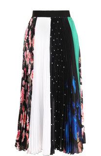 Плиссированная юбка-миди с принтом MSGM