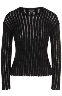 Вязаный шерстяной пуловер с круглым вырезом Giorgio Armani