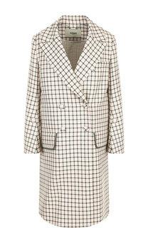 Двубортное шерстяное пальто в клетку Fendi