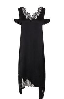Платье-миди асимметричного кроя с кружевной вставкой Helmut Lang