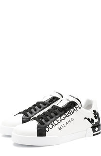 Кожаные кеды Portofino на шнуровке Dolce & Gabbana