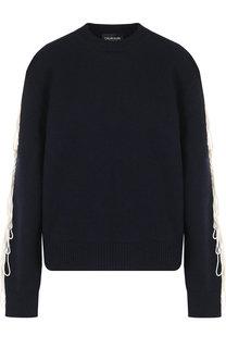 Шерстяной пуловер с контрастной отделкой CALVIN KLEIN 205W39NYC