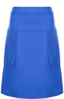 Однотонная мини-юбка из смеси шерсти и кашемира Marni