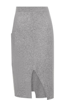 Вязаная юбка из смеси шерсти и кашемира с разрезом Pringle Of Scotland