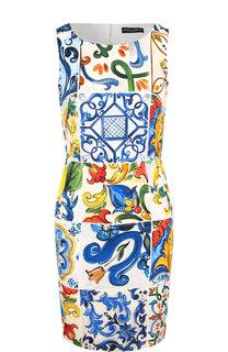Приталенное шелковое мини-платье с принтом Dolce & Gabbana