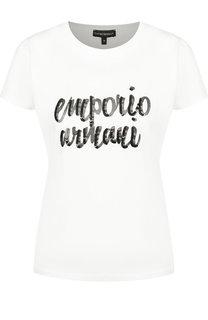 Хлопковая футболка с круглым вырезом и логотипом бренда Emporio Armani