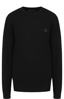 Однотонный шерстяной пуловер с круглым вырезом Acne Studios