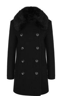 Двубортное шерстяное пальто прямого кроя Emporio Armani