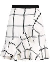 Мини-юбка с оборками и контрастным поясом self-portrait