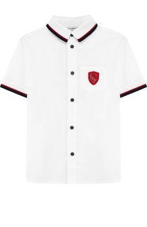 Хлопковая рубашка с контрастной отделкой Dolce & Gabbana