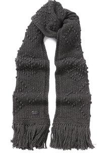 Шерстяной шарф с бахромой Saint Laurent