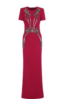 Однотонное платье-макси с декоративной отделкой Alexander McQueen