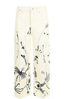 Укороченные джинсы со стрелками и принтом Dries Van Noten