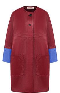 Кожаное пальто с накладными карманами и контрастной отделкой Marni