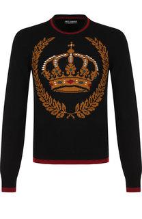 Джемпер с принтом из смеси кашемира и шерсти Dolce & Gabbana