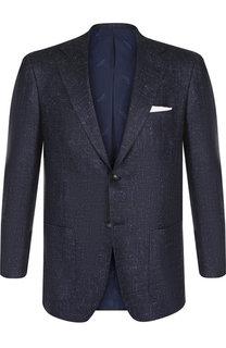Однобортный пиджак из смеси шелка и шерсти с кашемиром Kiton