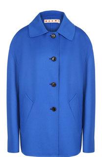 Однотонное пальто из смеси шерсти и кашемира со спущенным рукавом Marni