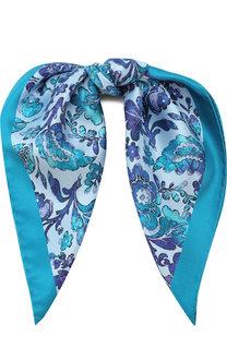 Шелковый платок с цветочным принтом Kiton