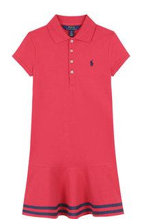 Хлопковое мини-платье с контрастной отделкой Polo Ralph Lauren