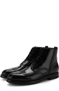 Кожаные ботинки на шнуровке с брогированием W.Gibbs