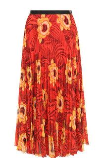 Плиссированная юбка-миди с принтом Dries Van Noten