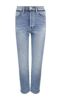 Укороченные джинсы прямого кроя с потертостями Frame Denim